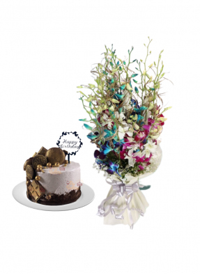 Mix Orchid Bouquet with Special Birthday Cake