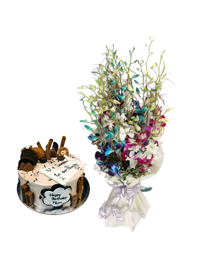 Mix Orchid Bouquet with Special Cake for Mom