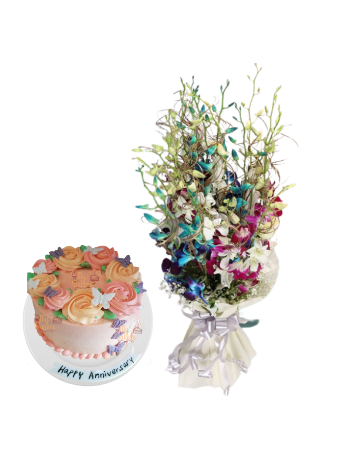 Mix Orchid Bouquet with Special Edible Butterfly Cake