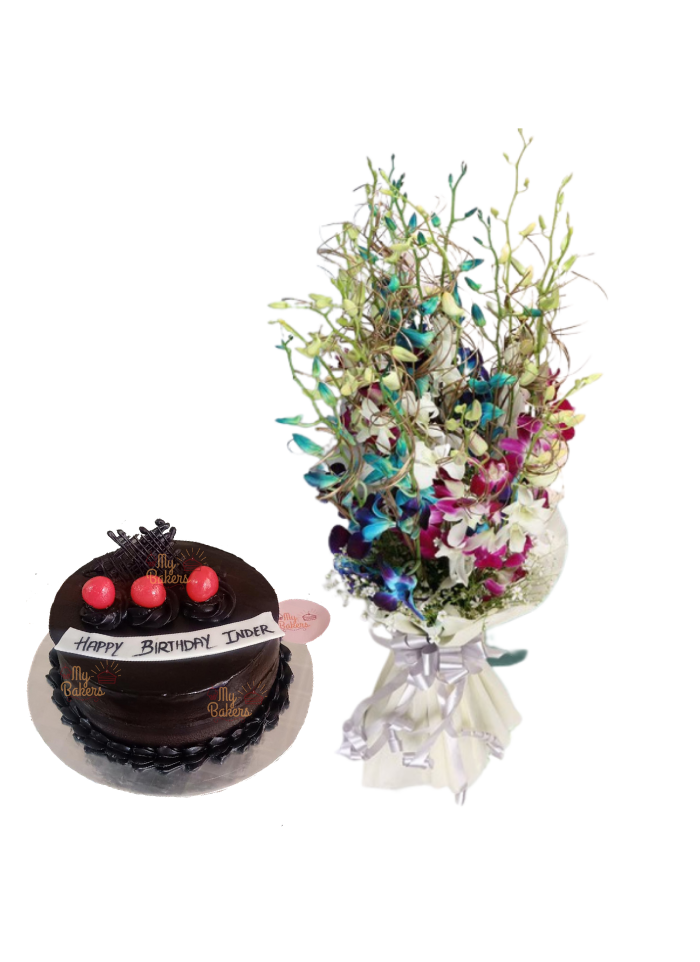 Mix Orchid Bouquet with Strawberry Chocolate Cake
