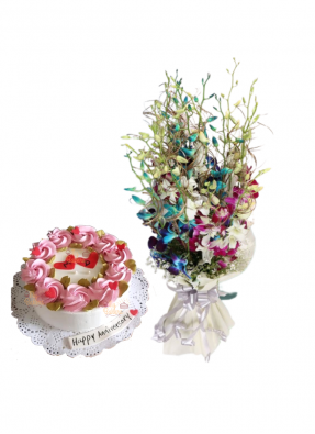 Mix Orchid Bouquet with Vanilla Cake