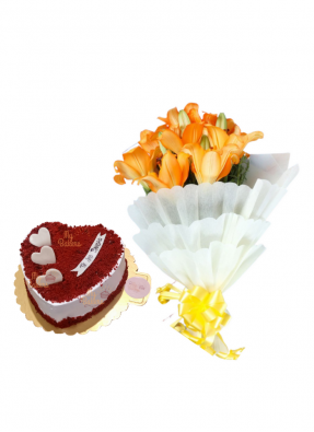 Orange Lilies Bouquet with Heart Shaped Red Velvet Cake