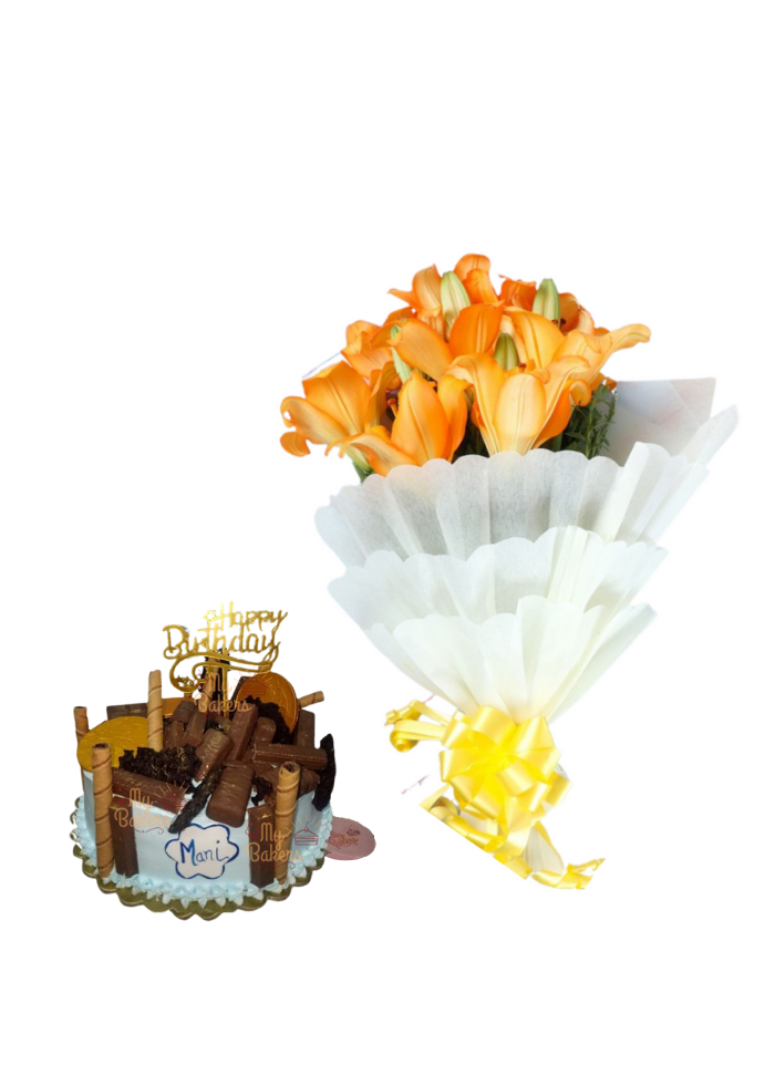 Orange Lilies Bouquet with Lots of Chocolate Cake