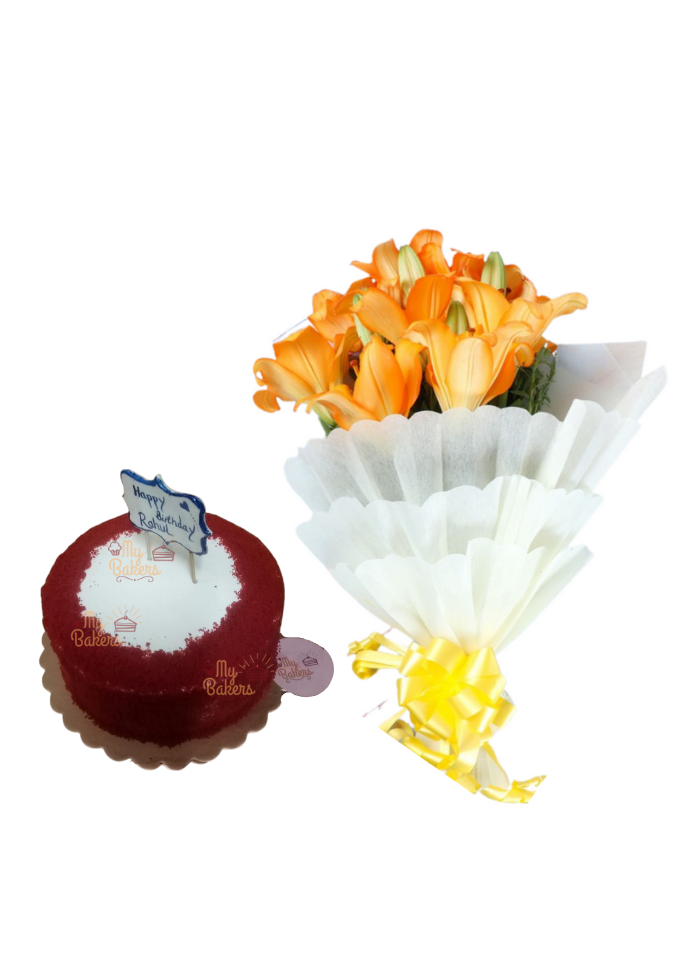 Orange Lilies Bouquet with Red Velvet Cake