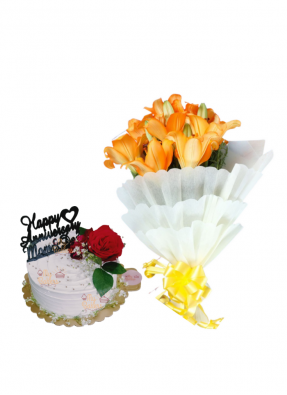 Orange Lilies Bouquet with Special Flower Cake