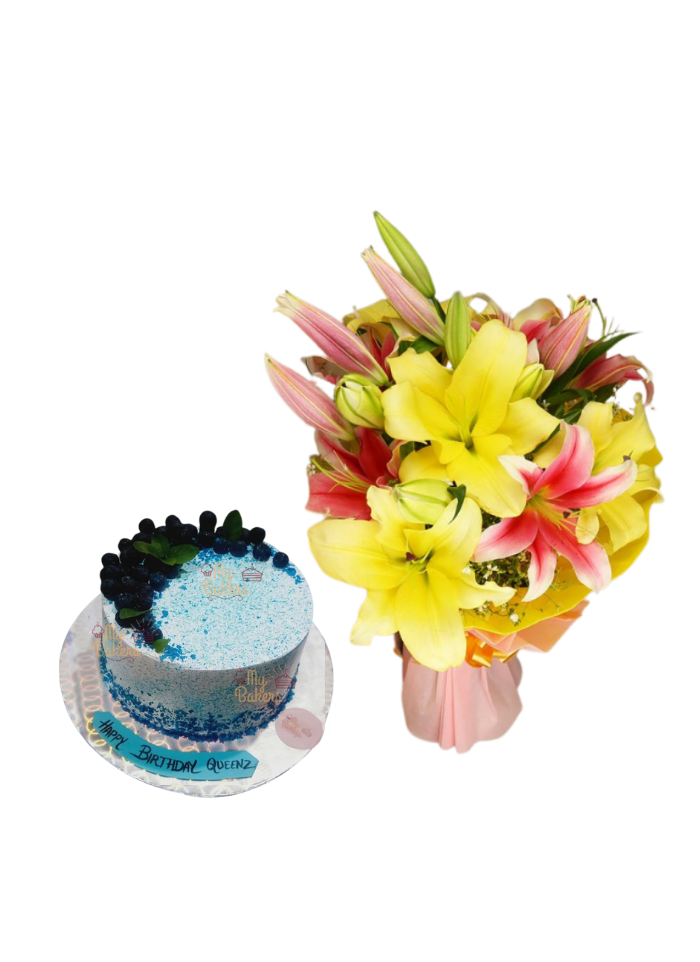 Pink and Yellow Lily Bouquet with Blue Berry Cake