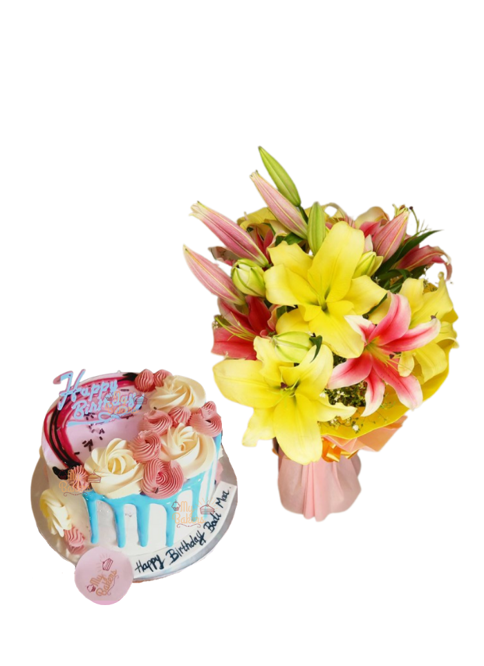 Pink and Yellow Lily Bouquet with Cake Flower on Top