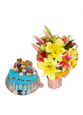Pink and Yellow Lily Bouquet with Candy Cake