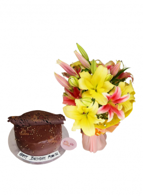 Pink and Yellow Lily Bouquet with Chocolate Cake