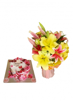 Pink and Yellow Lily Bouquet with Edible Flower Cake