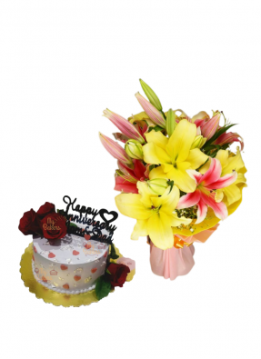 Pink and Yellow Lily Bouquet with Flower Cake