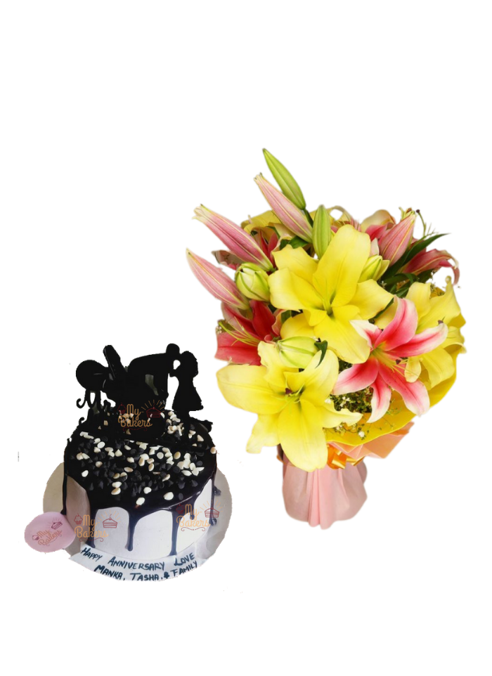 Pink and Yellow Lily Bouquet with Love Chocolate Cake