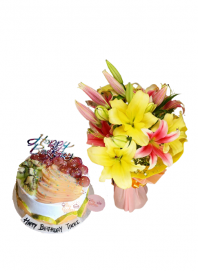 Pink and Yellow Lily Bouquet with Mix Fruit Cake