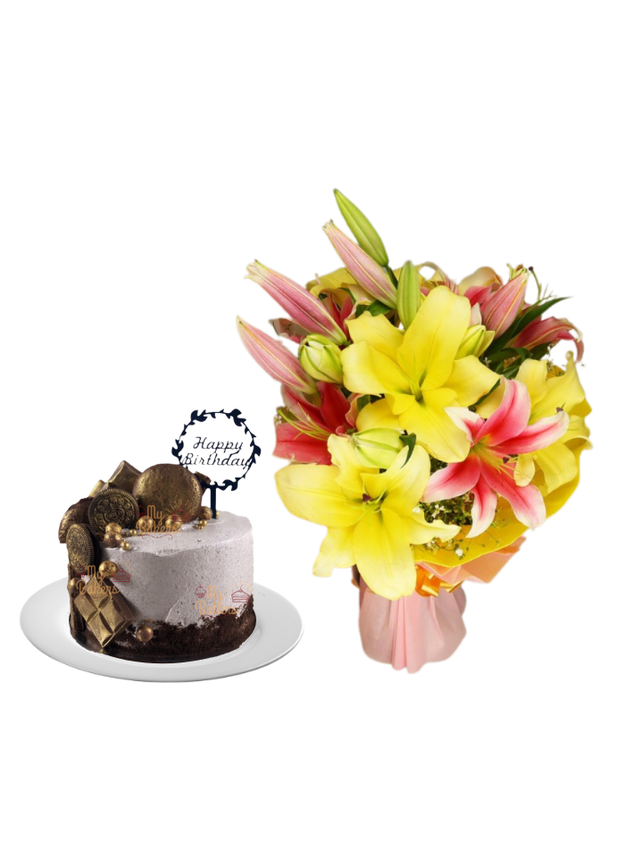 Pink and Yellow Lily Bouquet with Special Birthday Cake