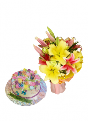 Pink and Yellow Lily Bouquet with Special Edible Flowers and Butterfly Cake