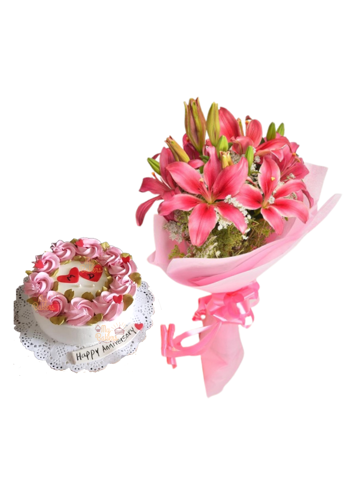 Pink Love Lily Bouquet with Vanilla Cake