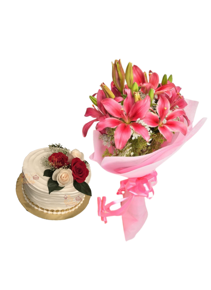 Pink Love Lily Bouquet with Cake for Loved