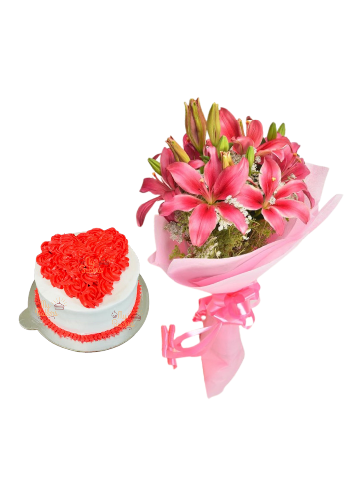Pink Love Lily Bouquet with Cake Heart Shape