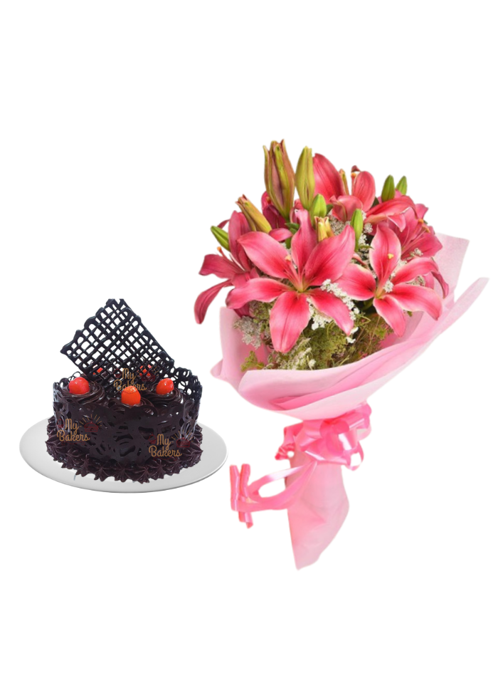Pink Love Lily Bouquet with Chocolate Cake Designer