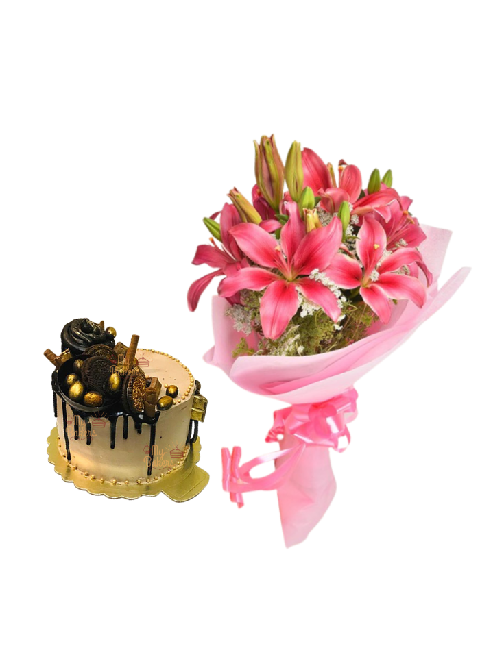 Pink Love Lily Bouquet with Golden Cake