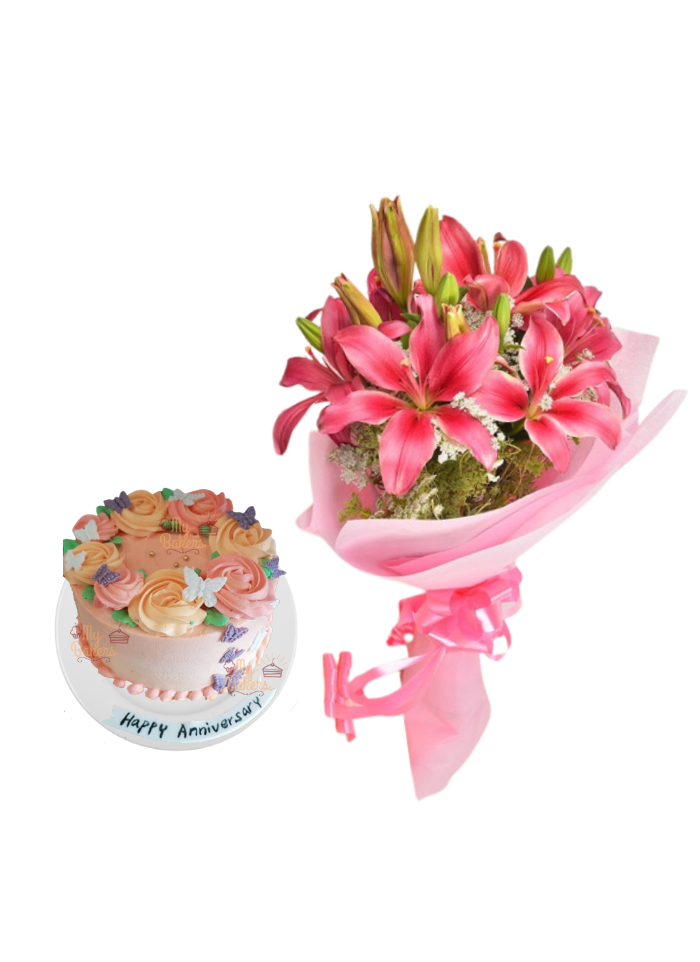 Pink Love Lily Bouquet with Special Edible Butterfly Cake