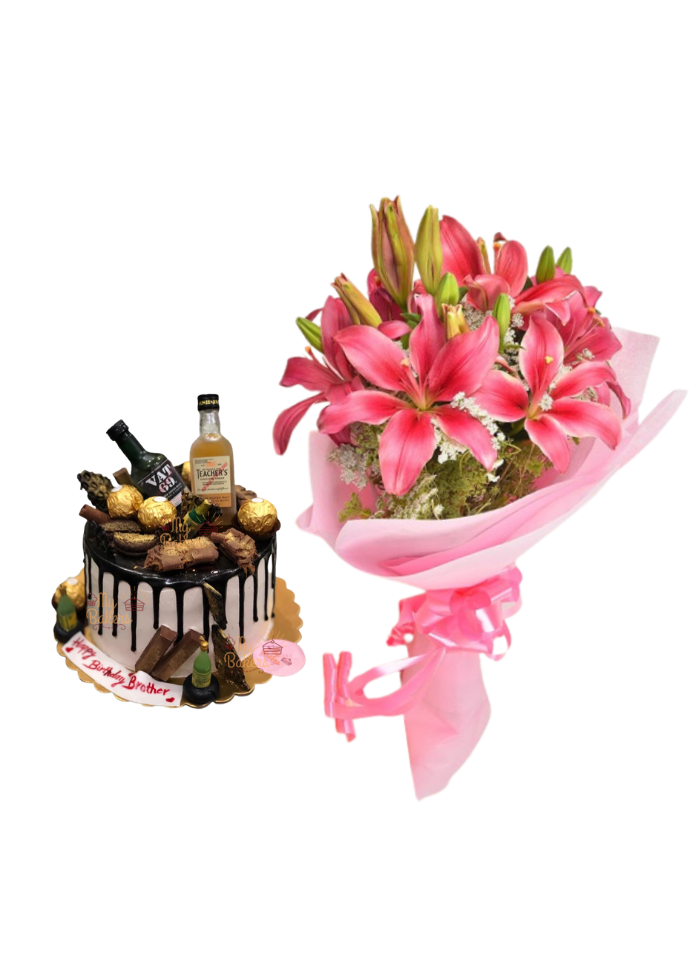 Pink Love Lily Bouquet with Whiskey Cake