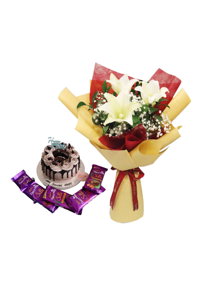 White Lily Bouquet with Chocolate Birthday Cake and Chocolate