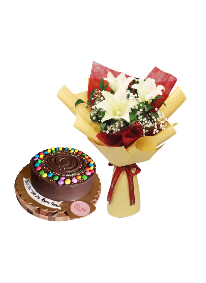 White Lily Bouquet with Chocolate Truffle Cake