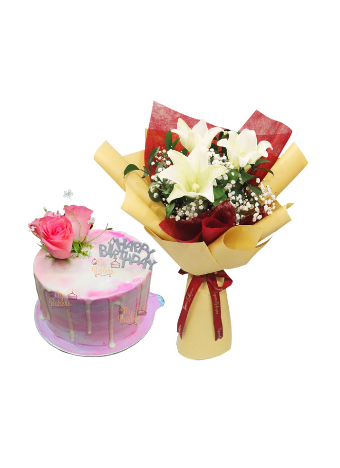 White Lily Bouquet with Fresh Flower Cake