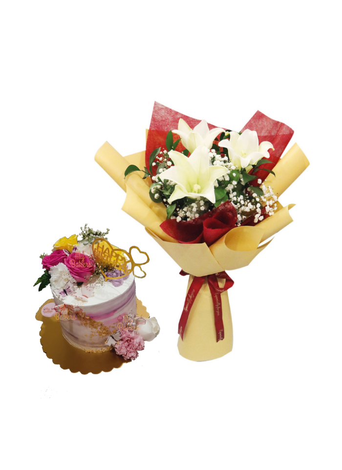 White Lily Bouquet with Fresh Flowers Cake