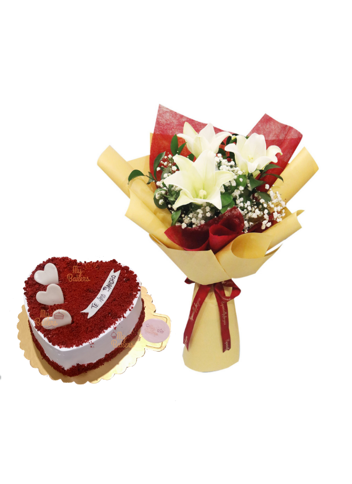 White Lily Bouquet with Heart Shaped Red Velvet Cake