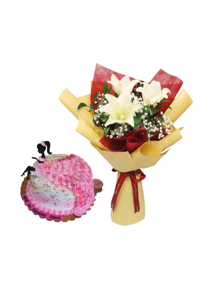 White Lily Bouquet with Miss World Shaped Cake