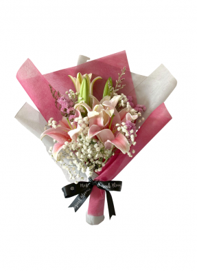 Baby Breath and Pink Lily Bouquet