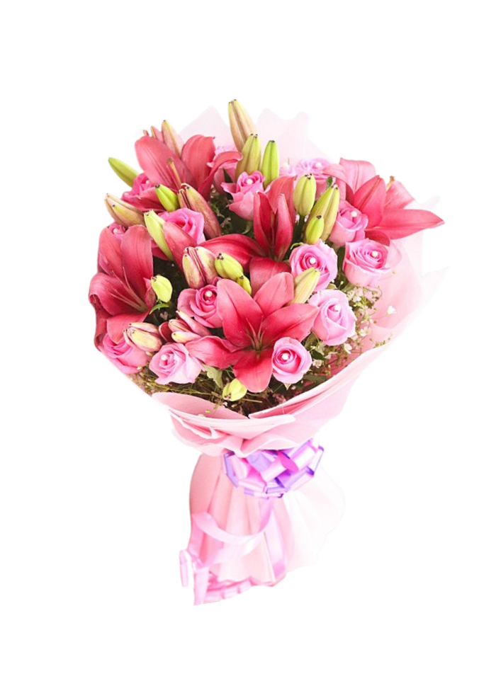 Pink Roses and Lily Bouquet