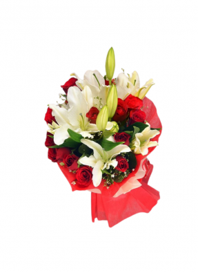 White Lily and Red Rose Bouquet