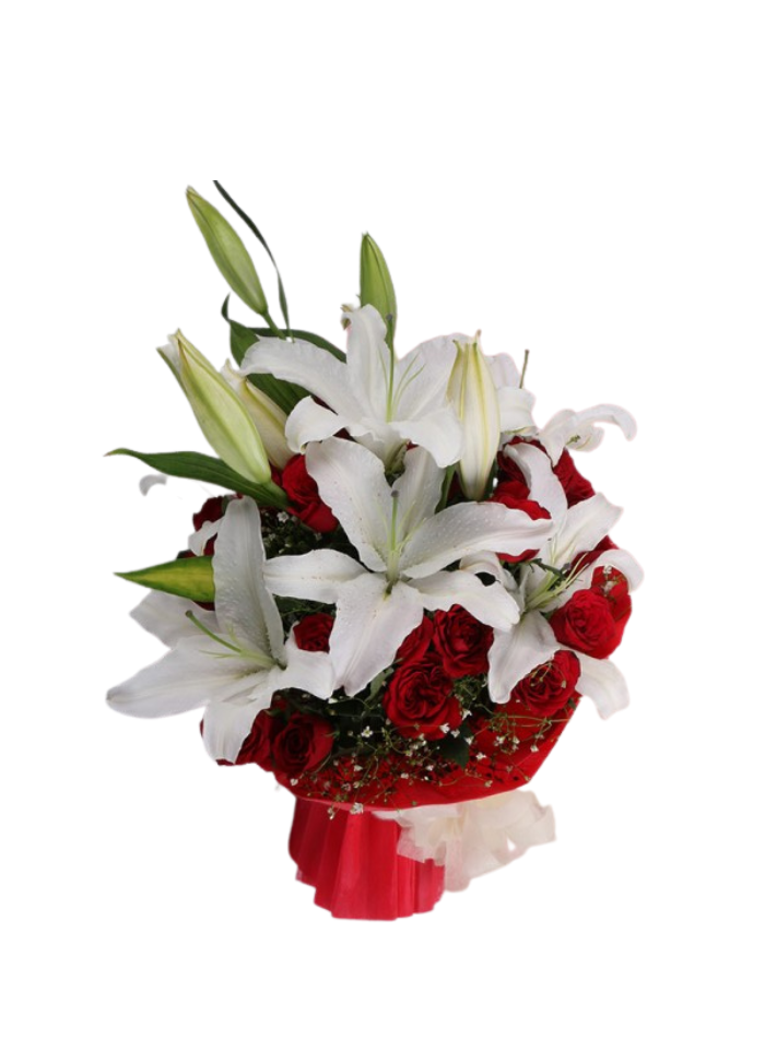 White Lily and Red Roses Bouquet