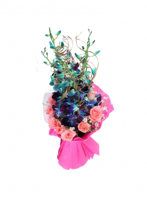 Blue Orchid and Pink Rose Bouquet