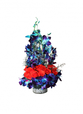 Red Roses and Blue Orchid Bouquet