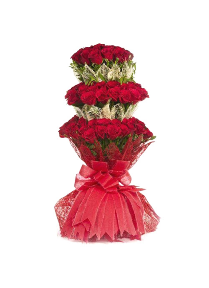 3 Tier Red Rose Bouquet