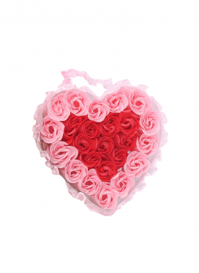 Pink and Red Roses Heart Bouquet