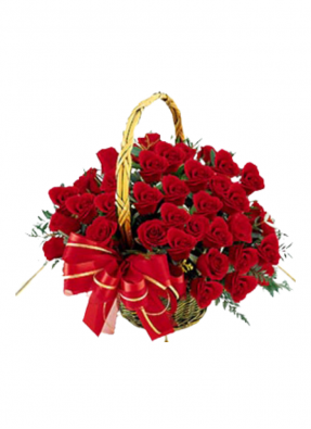 Red Roses Basket Bouquet