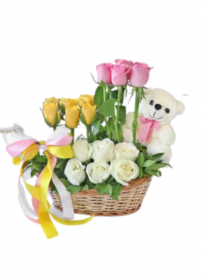 Teddy with Mix Roses Basket