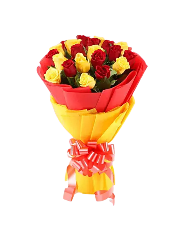 Yellow and Red Roses Bouquet