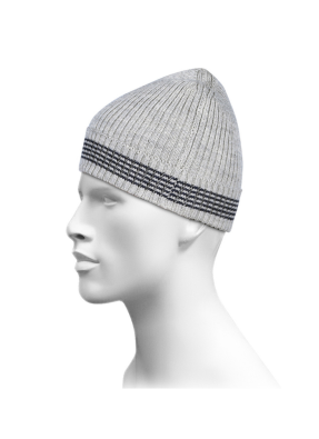 Gift Purewool Cap Self Design With Border Stripes Grey