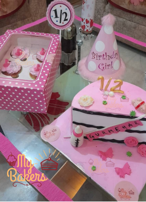Amazing Half Cake with 6 Cup Cakes and Cap Combo