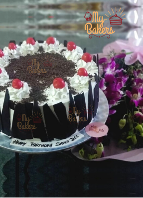 Black Forest Cake Decorated with Cherry and Fresh Orchid Flower Combo