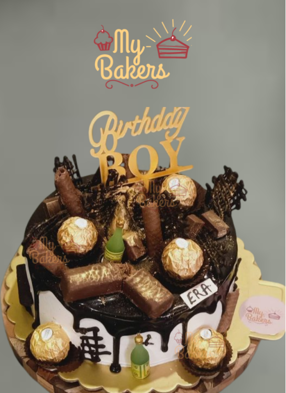 Black Forest Cake Decorated with Ferrero Rocher and Kitkat