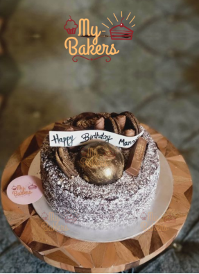 Black Forest Cake Decorated with Oreo Biscuit and Choco Ball