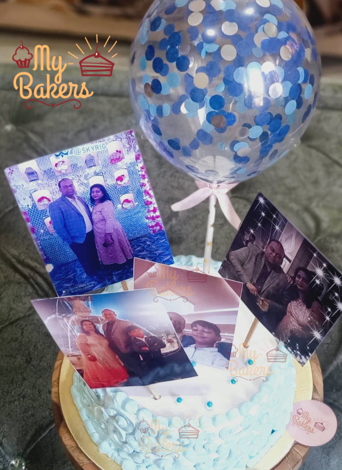 Blue Designer Cake Decorated with Photo and Balloon Topper
