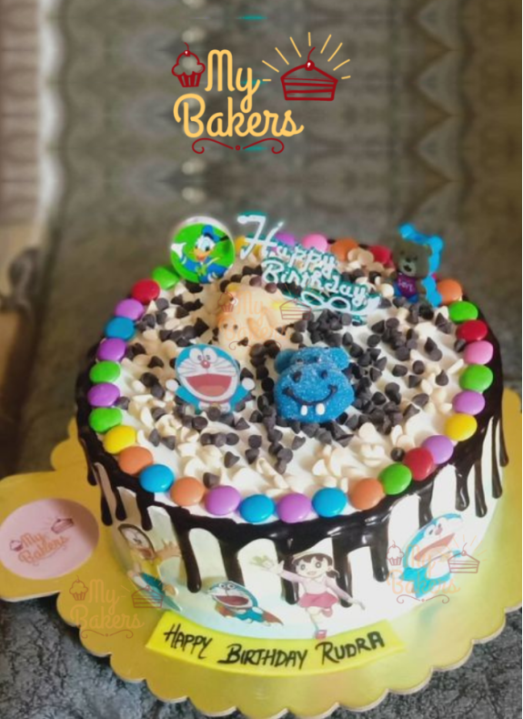 Cartoon Character Cake Decorated with Jellys and Gems